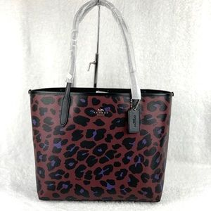 Coach City Tote With Leopard Print